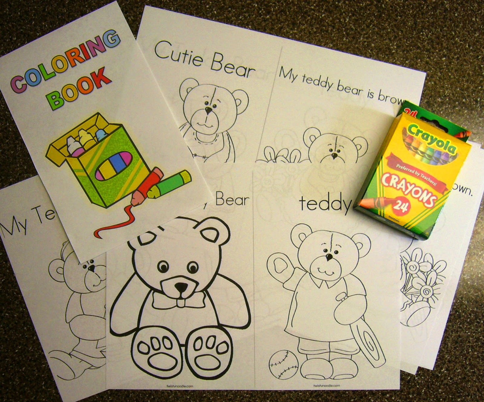 Operation Christmas Child Teddy Bear Shoe box coloring book