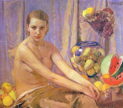 Anselmo Miguel Nieto, Desnudo con Bodegón de Frutas, Pintura Española, Pintores Españoles, Pintor Español