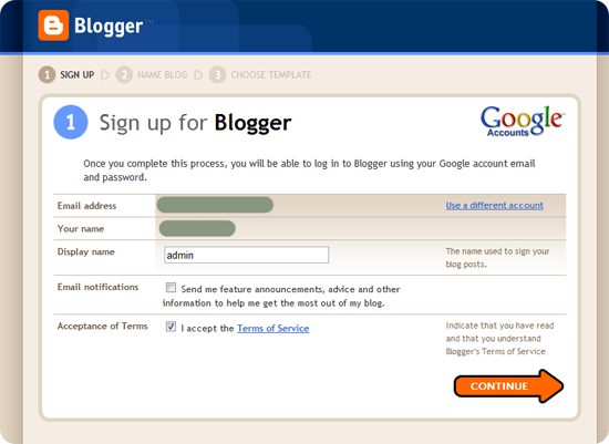 Create your blog step2