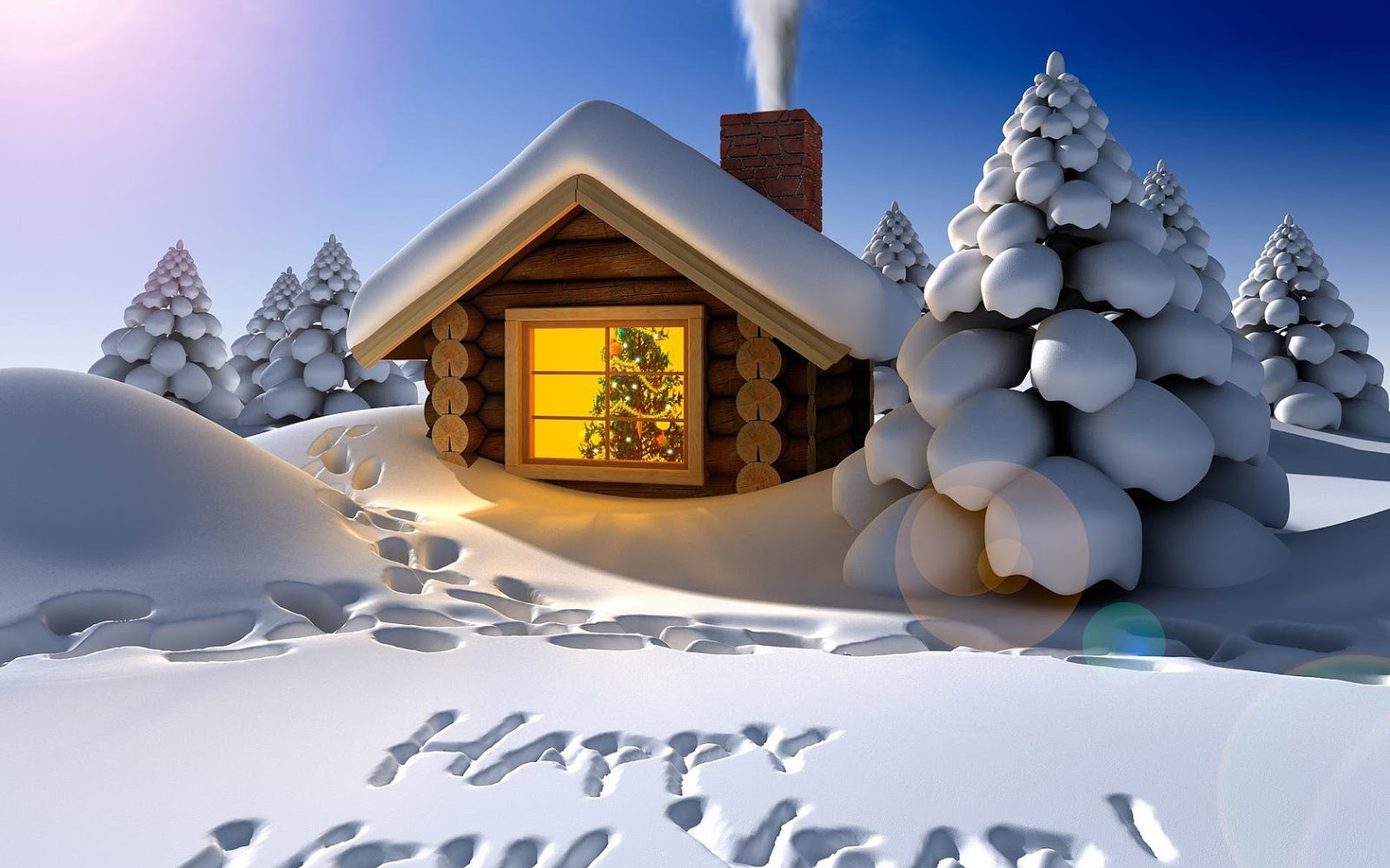 3d winter wallpaper met een huisje en de tekst happy new year in de