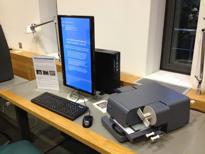 The new readers consist of a large flat screen monitor, which can be turned portrait or landscape, a electronic reader portion and a keyboard all wired up to a computer lurking at the back of this picture