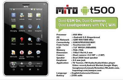 Mito T500 - Spesifikasi dan Fitur Mito T500