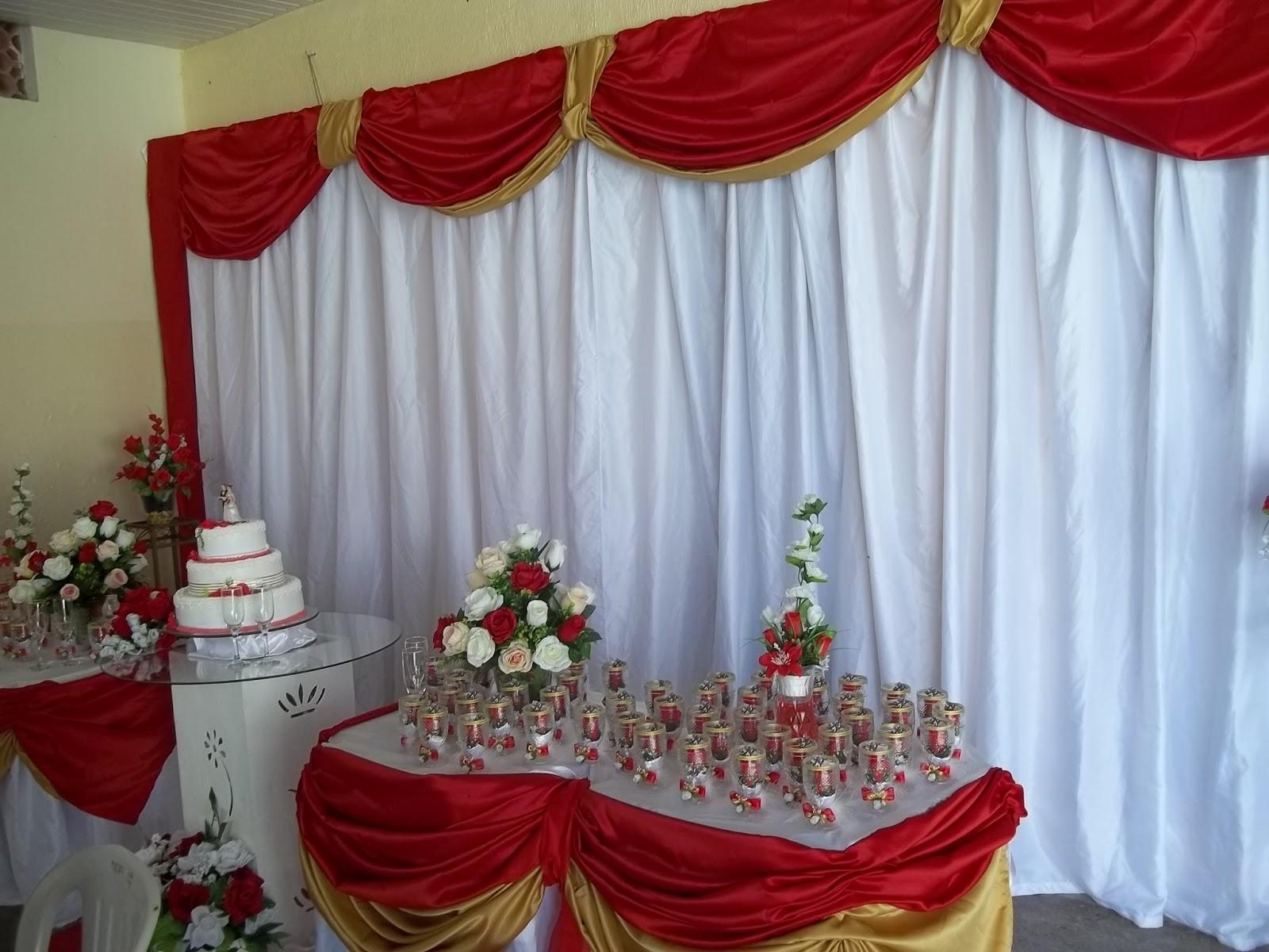 BOLOS E DECORAÇÕES Decoração de casamento, vermelho com dourado