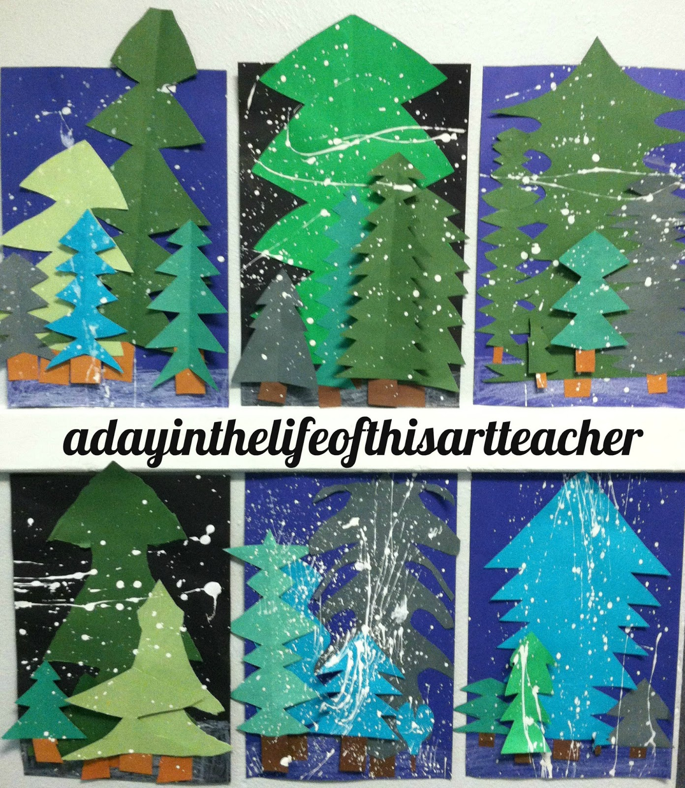 Art with mrs king winter pine trees