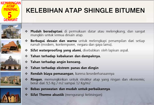 Kemiringan Atap Shingle minimal 5 derajat