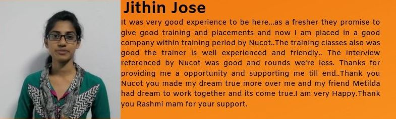 Jithin Jose got placed as an IT Support