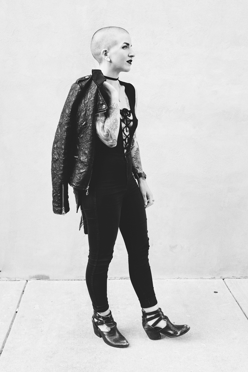 Lace Up Bodysuit with a Leather Jacket - Mini Penny Blog