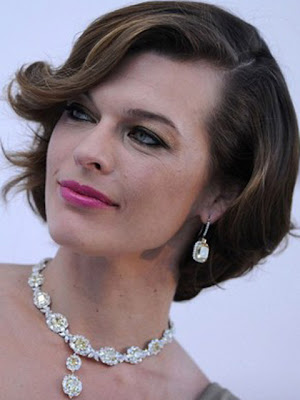 Milla Jovovich Dangling Diamond Necklace and Earrings