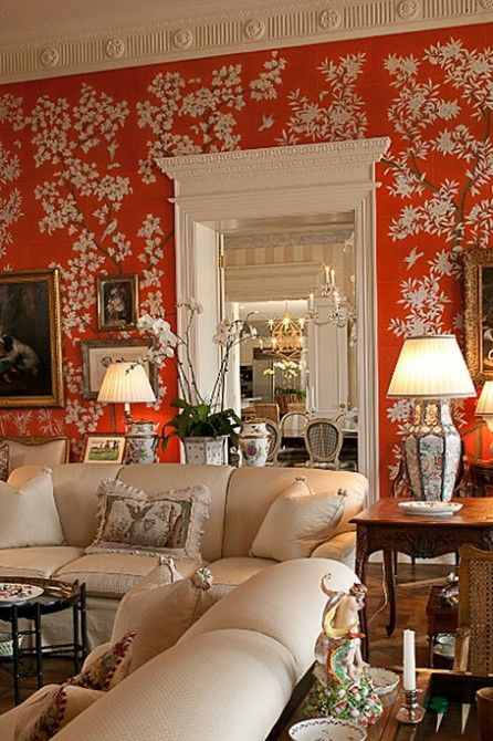 Chinoiserie chic saturday inspiration orange for Lounge wallpaper inspiration