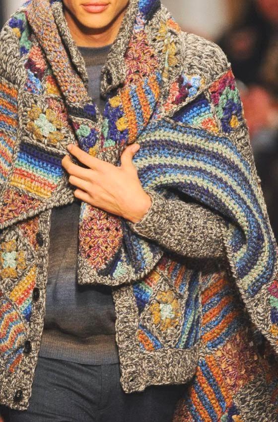 sweter meski na drutach i szydelkiem z narzuta