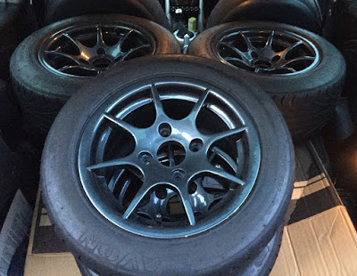 "Caterham R500 13"" alloys loaded into the mini ready for dropping off at Mint Alloys"