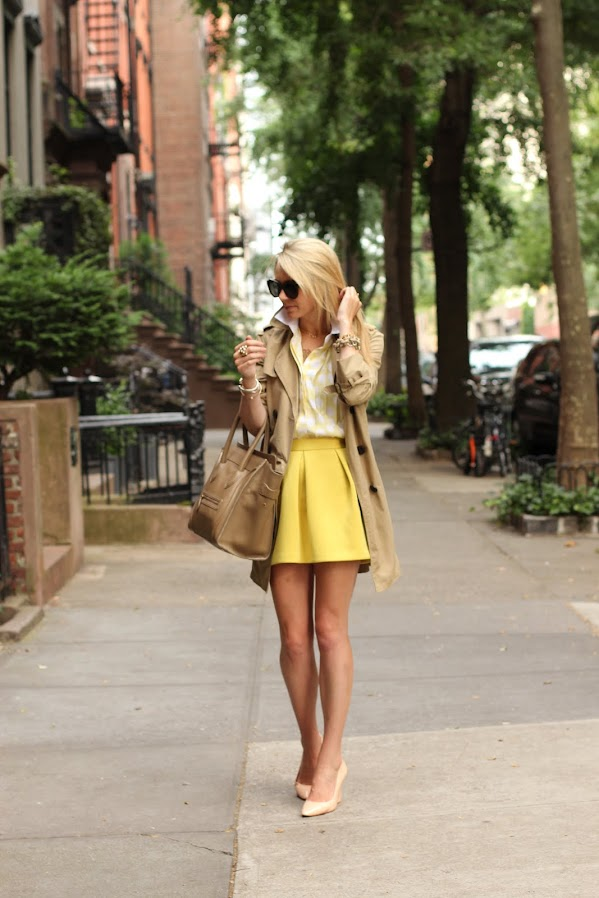 atlantic pacific yellow asos skater skirt trench polka dot