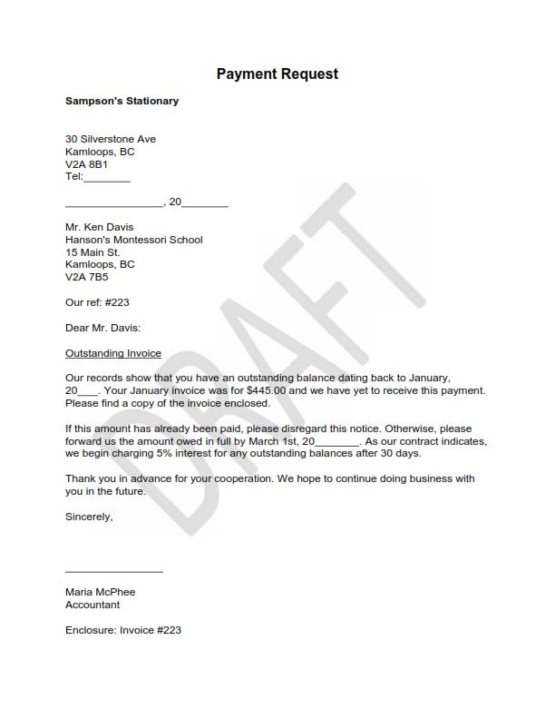 Payment Request Surat Permintaan Pembayaran Bahasa Inggris