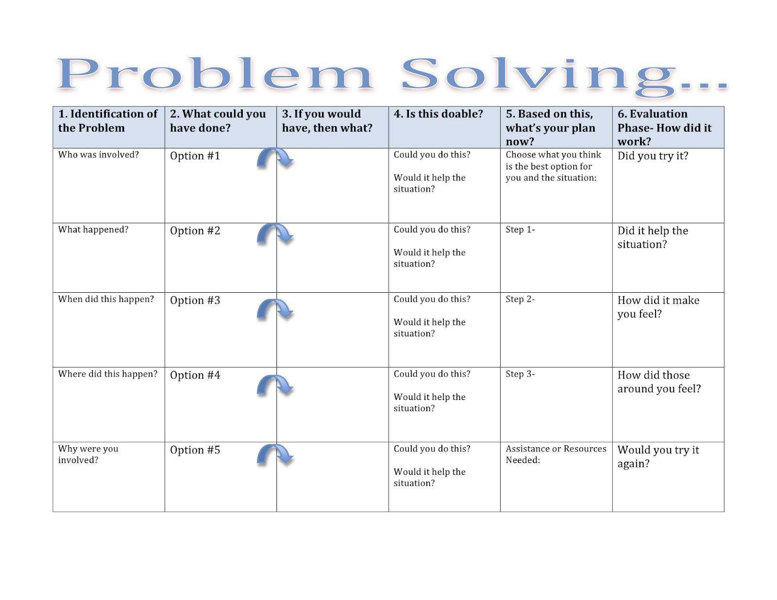 Problem Solving Worksheets For Adults In Speech Therapy | Caroldoey