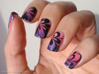 pink and purple water marble nails holographic catherine arley 805