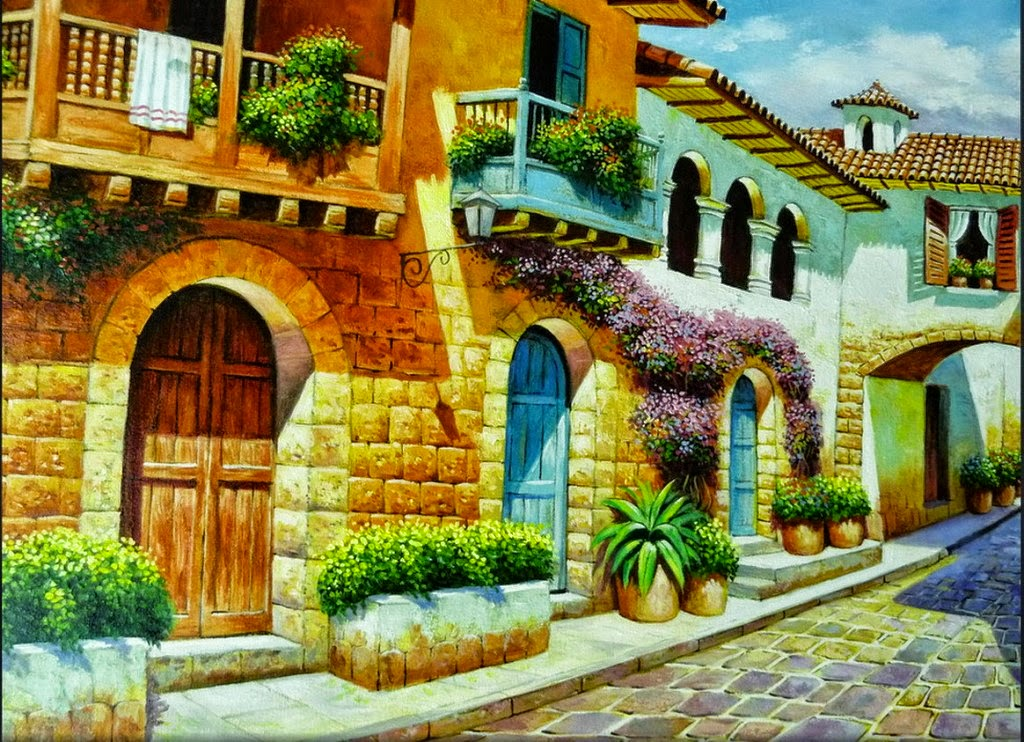 Pinturas on pinterest paisajes postcards and courtyards for Cuadros de oleo modernos
