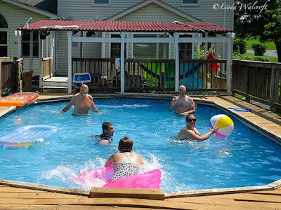 people playing in pool