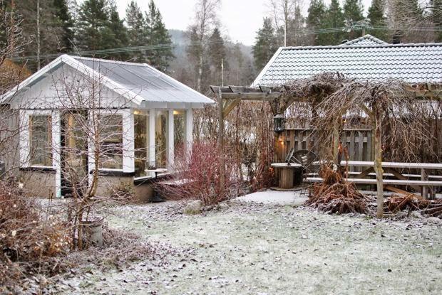 snö växthus pergola november trädgård
