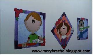 fotos de mural en consultorio del dentista, odontólogo, 2 niños y una niña felices