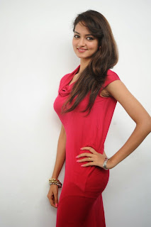 Shanvi in Cute Red Tight Dress Spicy Cute Pics