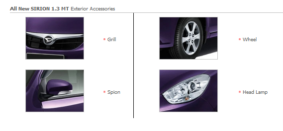 Accessories Exterior All New SIRION 1.3 MT