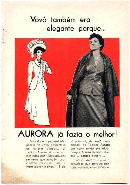 Propaganda dos Tecidos Aurora, nos anos 40: vestimentas clássicas para mulheres.