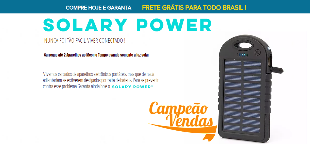 CARREGADOR PORTÁTIL SOLAR (SOLARY POWER)
