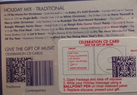 holiday mix cd back cover