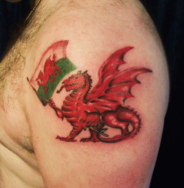 Welsh red dragon tattoos art for White heritage tattoos