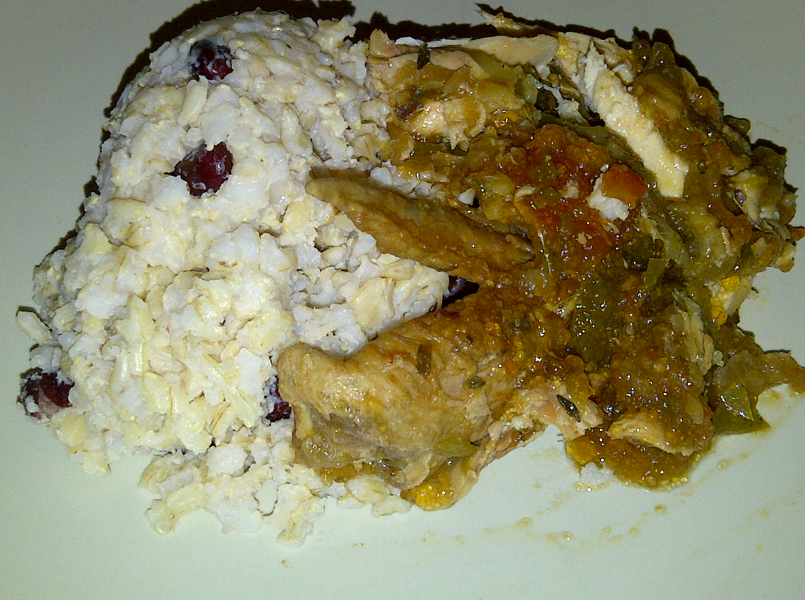 jamaican brown stew chicken with rice and peas