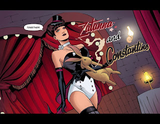 Page 21 from DC Comics Bombshells #18 featuring Zatanna and Constantine