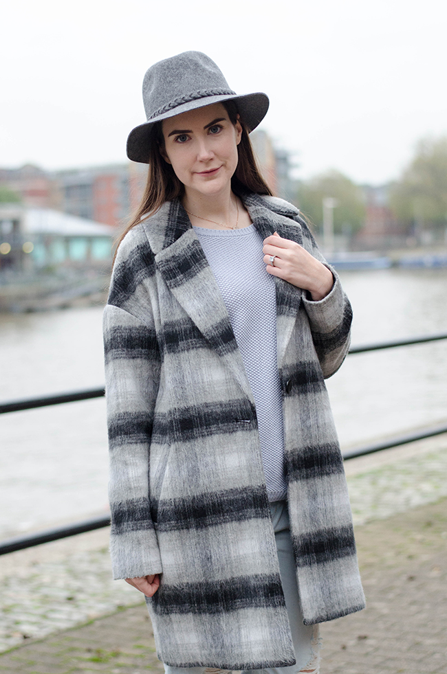 Grey Check Boyfriend Coat