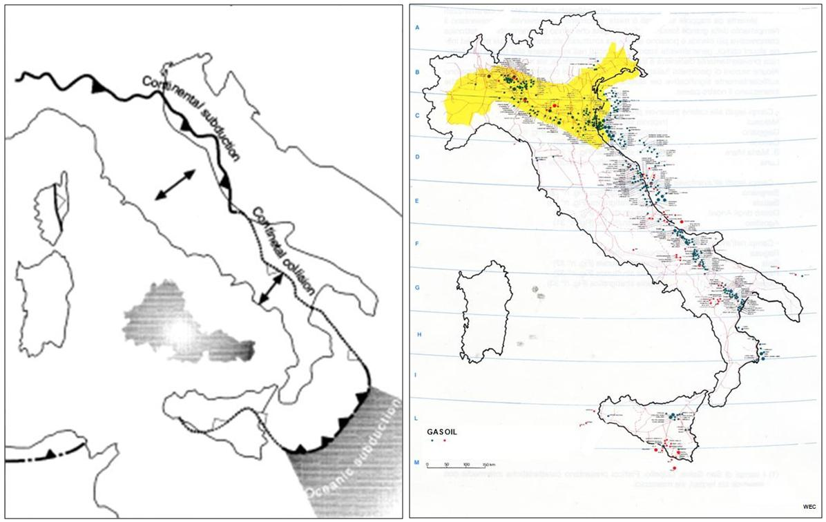 tectonic sketch of italy and distribution of oil and gas occurrences this is a remarkable example to show that hydrocarbons oil and natural gas merely