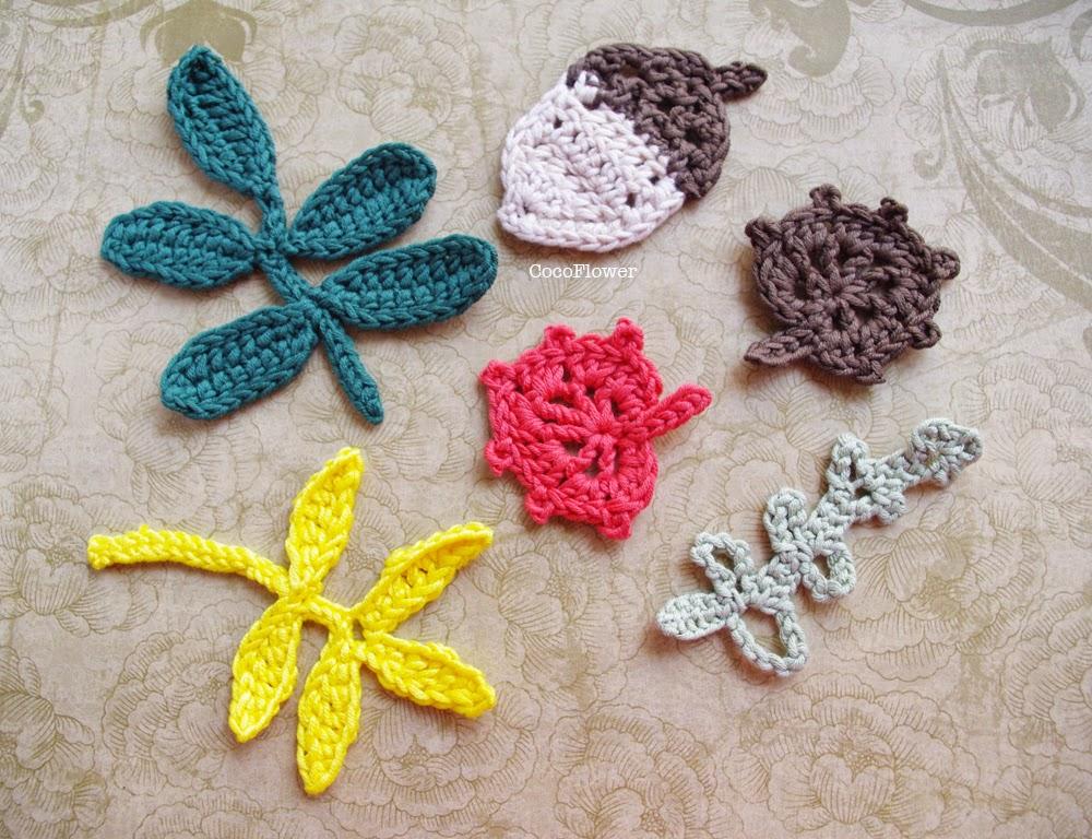 Ensemble d'appliques d'automne réalisées au crochet - www.cocoflower.net
