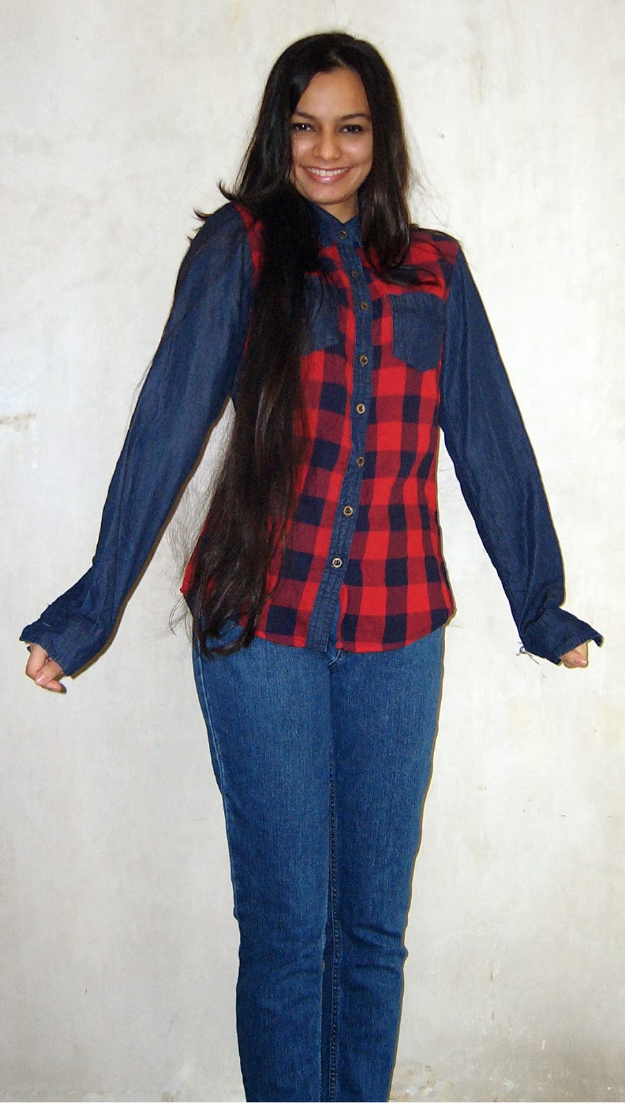 how to style a denim shirt, denim and plaid, how to wear plaid in india, winter dresses, winter clothes for mumbai