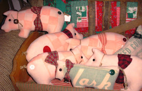 FEEDSACK CHRISTMAS PIGS AND COWS