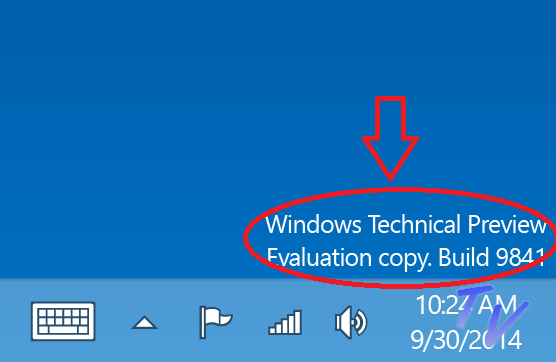 Windows Tehnical Preview Evalution Copy. Build 9841