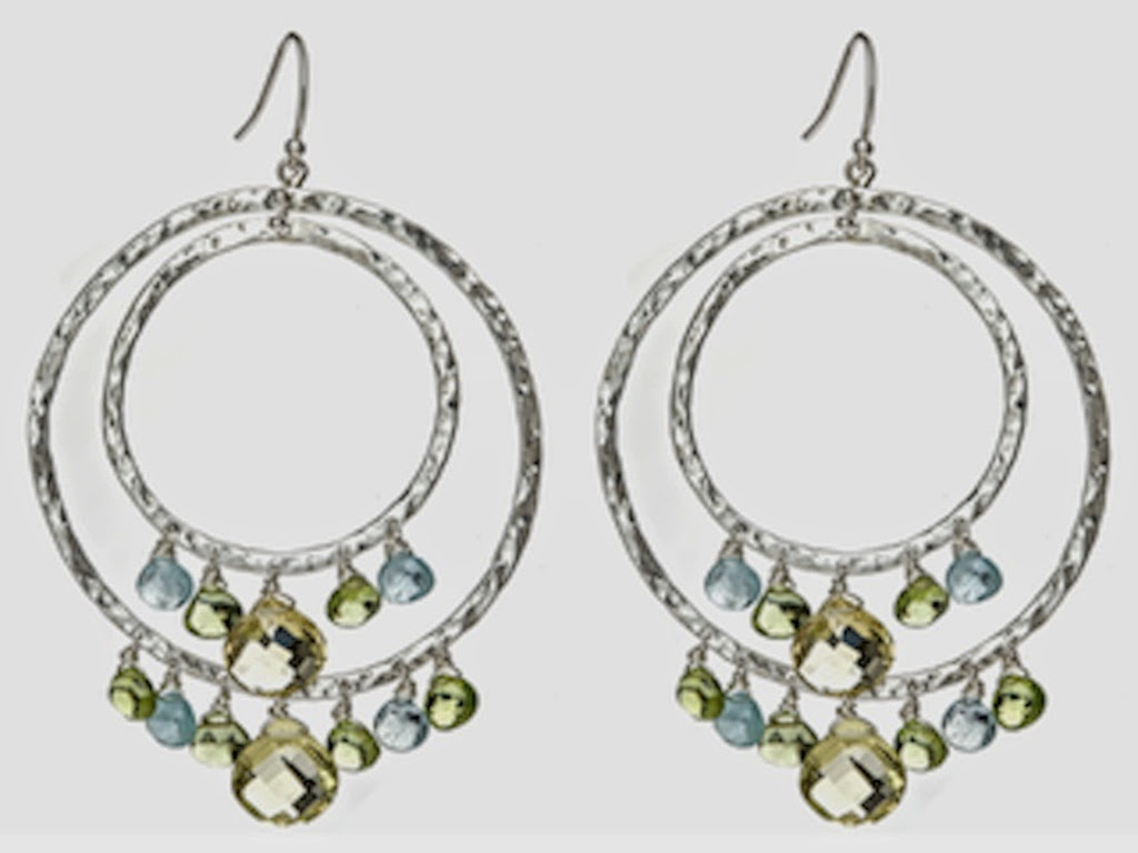 SILVER HAMMERED CHANDELIER HOOP EARRINGS WITH NATURAL GEMSTONES