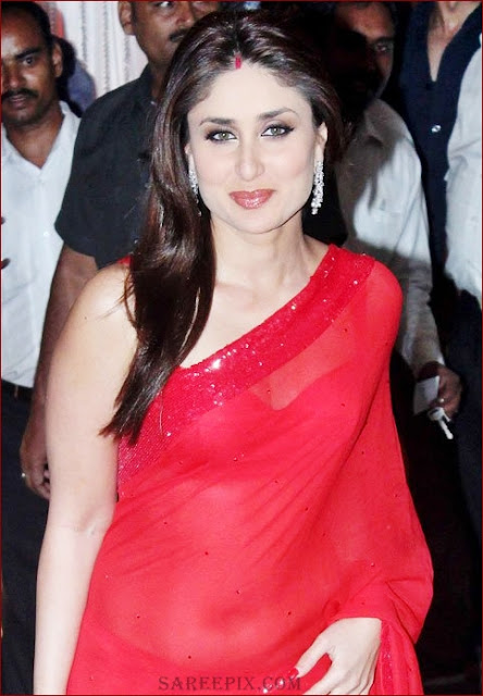 kareena kapoor in red transparent saree at mahek and naveen shetty reception
