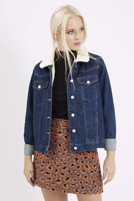 denim borg coat, denim jacket with fur collar,