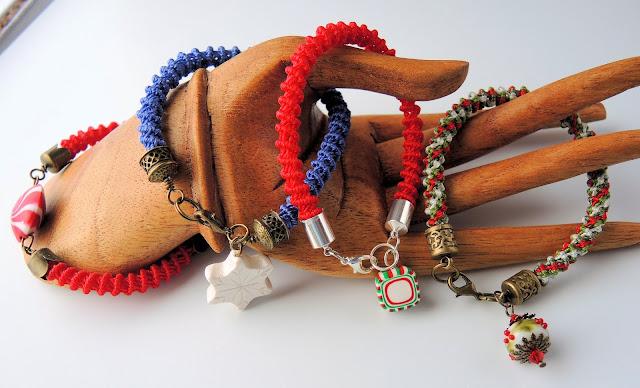 Christmas spiral micro macrame bracelets by Sherri Stokey of Knot Just Macrame