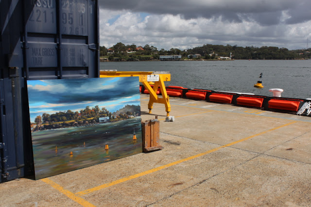 plein air oil painting of Goat Island from Moore's Wharf by artist Jane Bennett