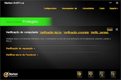 promoção norton antivirus 2012 facebook