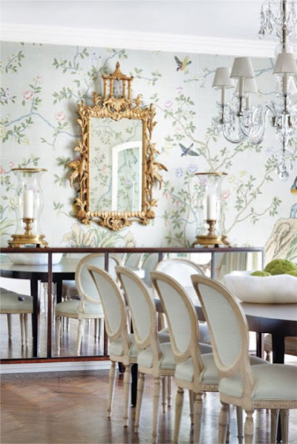Chinoiserie chic the neutral chinoiserie dining room for Dining room wallpaper