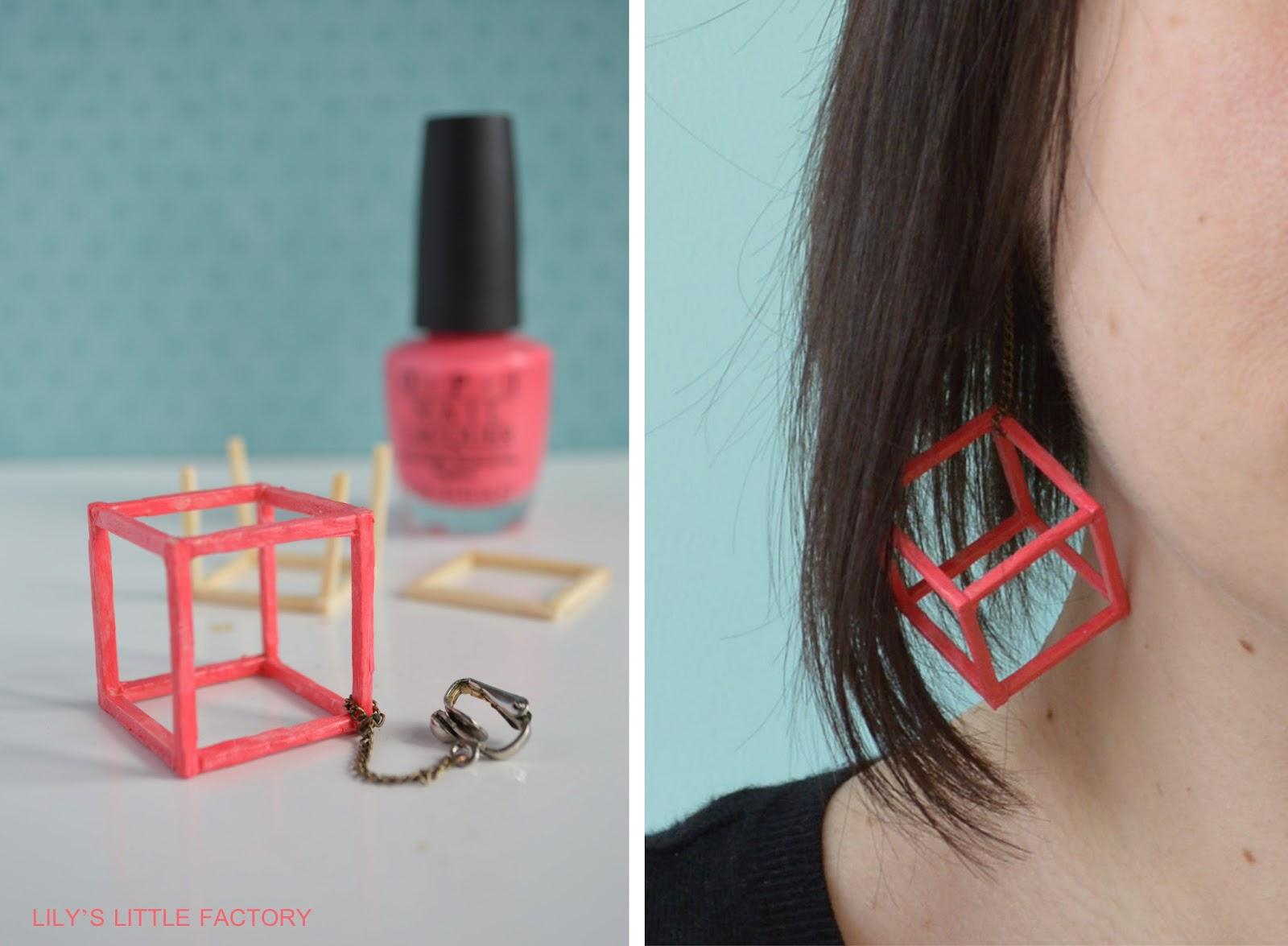 Allumettes vernis ongles boucles d 39 oreilles g om triques lily 39 s little factory blog - Porte boucle d oreille diy ...