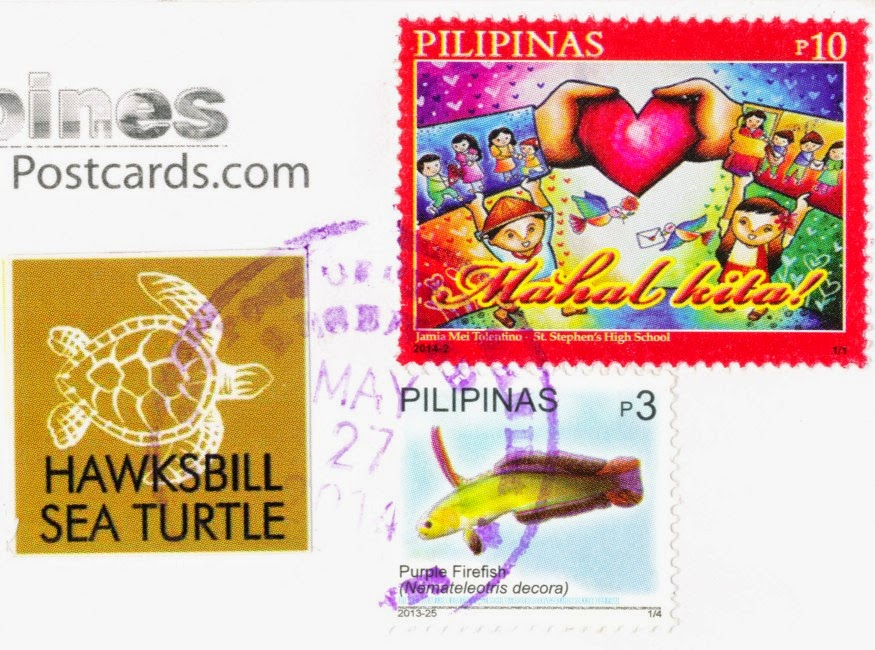 stamps, philippines, mahal kita, purple firefish, hawksbill sea turtle