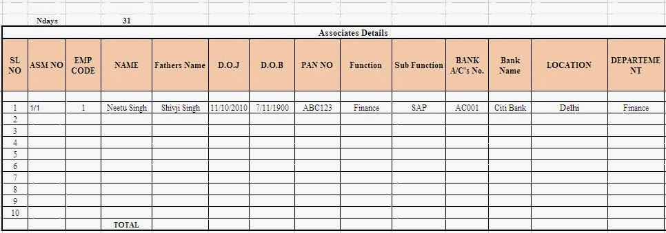 payslip template excel .