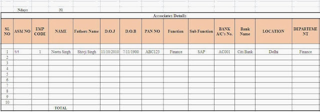Employee Salary Sheet In Excel With Formula - data sheet