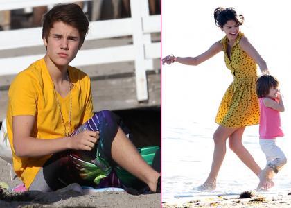 de jugar en la arena con los medio-hermanos de Justin, los Jazmyn y