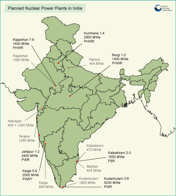 Planned nuclear reactors for india map world nuclear new s